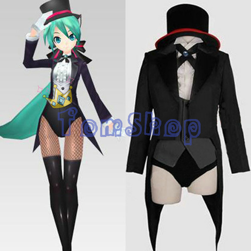 Vocaloid 2 Miku Projeto Diva Magician Cosplay Uniforme Terno Smoking Casaco de rabo de Andorinha Conjunto Completo Trajes Da Menina Das Mulheres Frete Grátis