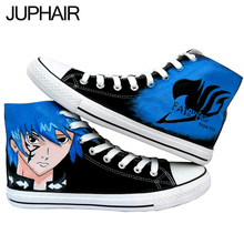 JUP Men Males Student Girls Couples Gift Footwear Anime Fairy Tail One Piece Naruto Shoe High Top Pure Hand-painted Canvas Shoes