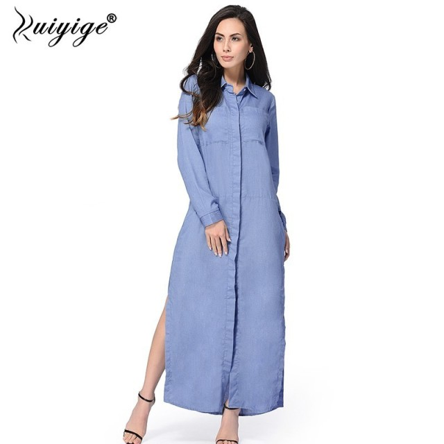 Ruiyige Spring Autumn Women Jeans Long Dress Polo Collar Full Sleeve Side Split Maxi Casual Vestdos