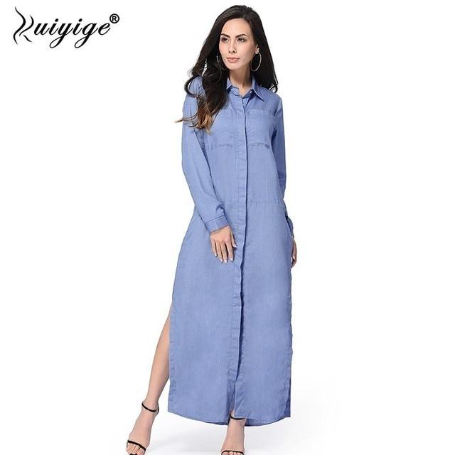 Ruiyige Spring Autumn Women Jeans Long Dress Polo Collar Full ...