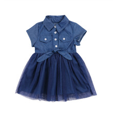 New Year's Costumes For Girls Summer Fashion Kids Patchwork Lace Denim Dress For Girls Baby Girl Lace Jeans Princess Dress 2-7Y