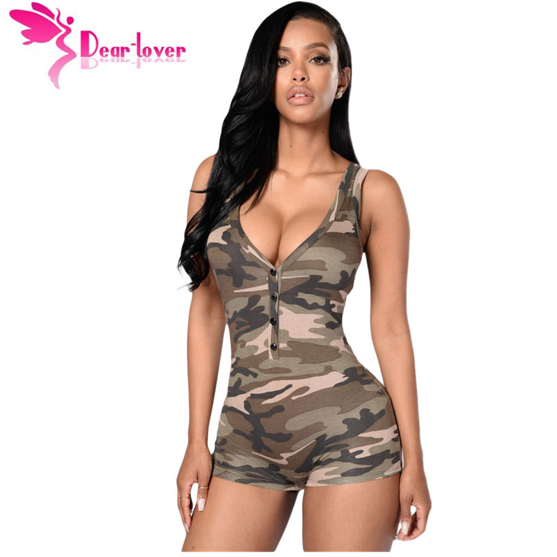 Dear Lover tracksuit for women club jumpsuits summer macacaos Sexy V-neck Sleeveless Camouflage Romper Shorts Bodysuit LC64071