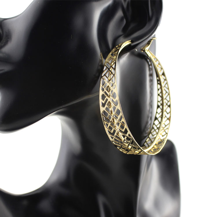 Hoop Earrings For Women Girl Gold White Gold Alloy Hollow Hyperbole For Gift Big Dangle For Dancer Hip Hop Rapper Earring Hle430