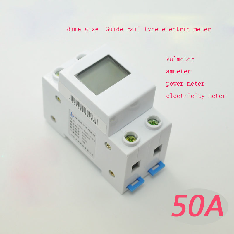 Guide rail type single-phase household electric meter digital power meter electricity power ac current meter measurement module food security measurement guide