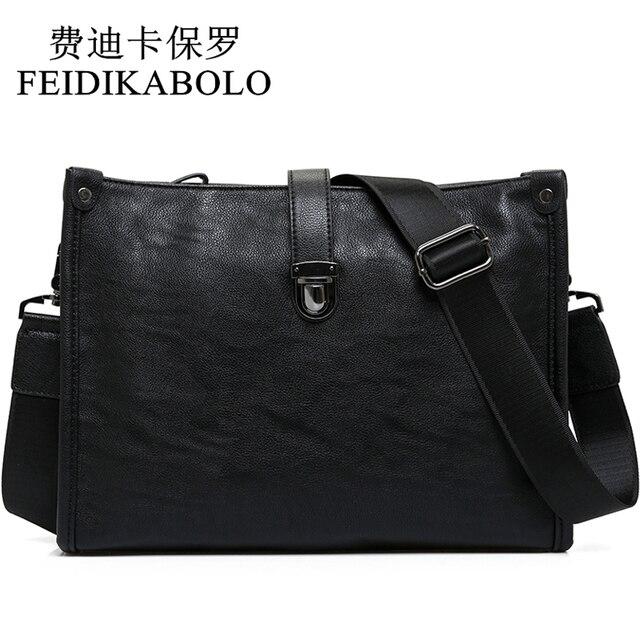 f8d389afe85d FEIDIKABOLO Latest Arrival Black Leather Messenger Bag Mens Cross Body  Shoulder Bags Luxury Business Envelope Bag