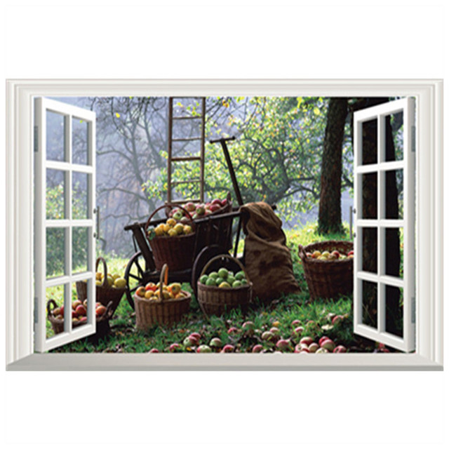 Wall decorations autumn scenery fruits fragrance 3d fake window stickers home dining room hotel removable matte