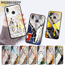 WEBBEDEPP Artist Jean Michel Basquiat Glass Case for Huawei P10 lite P20 Pro P30 P Smart honor 7A 8X 9 10 Y6 Mate 20