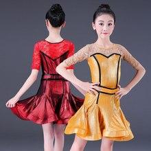 Professional Latin Dance Dress For Girls Children Kids Ballroom Shiny Latin/Rumba/Salsa/Cha Cha/ Tango Dress Performance Costume недорого