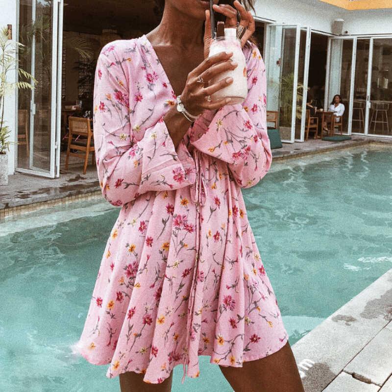 2018 модное летнее женское платье с v-образным вырезом, с цветочным принтом, с длинным рукавом, вечерние, Клубные, короткие, пляжный Сарафан