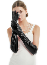 women 50cm(19.7) long plain style real sheep leather evening gloves black