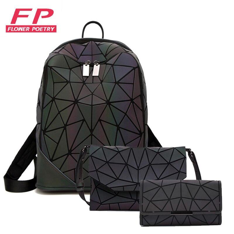 3 pçs conjunto feminino mochila holográfica luminosa senhoras volta pacote mochilas escolares para adolescente mochila envelope bolsa de ombro