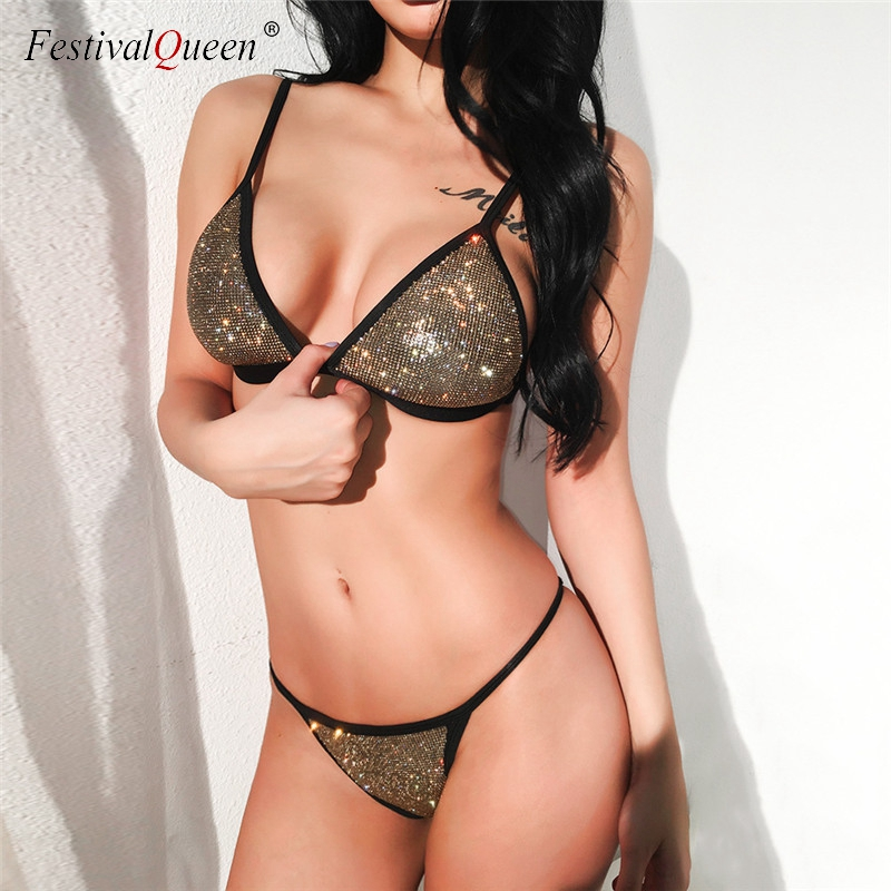 FestivalQueen glitter diamond sequin   bra   two piece   set   Sexy women sexy spaghetti strap low waist beach bling diamond   bra     sets