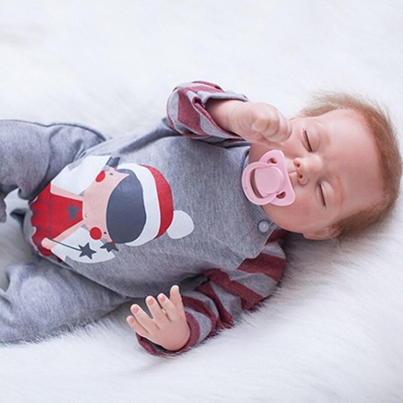 22 Inch 55 CM Reborn Sleeping Baby Doll Lifelike Silicone Newborn Dolls Cloth Body Boy Toy With Cloth Body Kids Birthday Gift цена 2017
