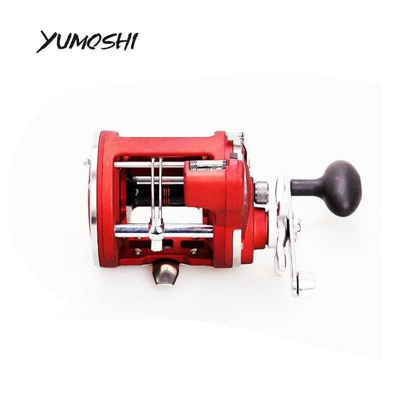 Оригинальный yumoshi литой барабан колеса 11 + 1BB влево/правая рука Рыболовная катушка с электрическим глубина счетчик carretes PESCA мулинете Рыбалка