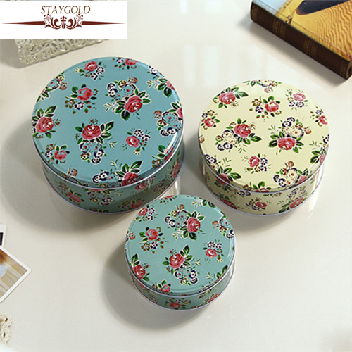 Zakka Elegant Classical Small Rose Tin Box Metal Storage Box 3pcs/set