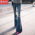 Плюс размер одежды весна расклешенных джинсов женских удлиняют загрузки cut середина талии большой рог джинсовые брюки