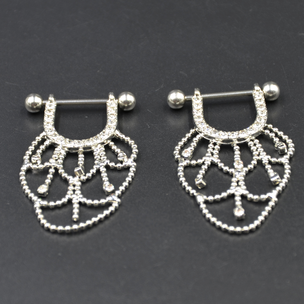 PIR Kirurgisk stål CZ Crystal lysekrone Drop brystvorte ring Barbell - Mode smykker - Foto 5