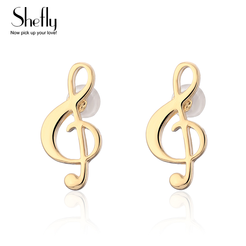 2018 Fashion Music Note Stainless Steel Stud Earrings For Women Men Women Gold /Steel Color Punk Female Daily Jewelry Gift