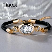 UMODE Brand Fashion Jewelry Simulated Diamond Bracelets For Women Champagne Gold Plated Pulseira Bracelets & Bangles Hot AUB0093