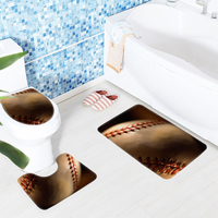 3Pcs Bathroom Mat Set Baseball Sport Macro Ball Pattern Bath Mat Bathroom Anti Slip Bathroom Products