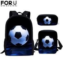 FORUDESIGNS 3Pcs/set Casual SchoolBags Children Soccer Football Print Kids School Backpack Book Bag for Teen Boys Girls mochila