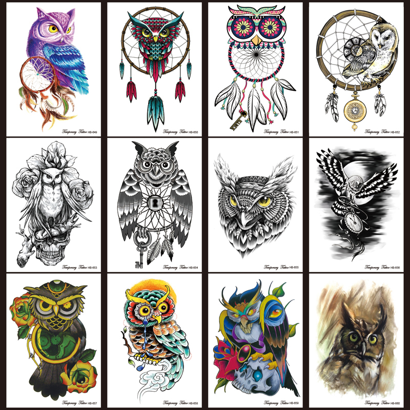 12pcs/lot Temporary Tattoo set Large Black Owl dream catcher tattoos Stickers Waterpoof Body Art