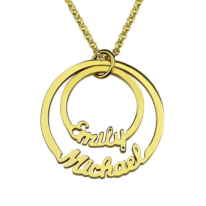 Wholesale Two Discs Necklace Gold Color Personalized Mom Necklace Layered Circle Necklace Names Necklace Couples Jewelry Gift stylish circle bead layered chokers necklace