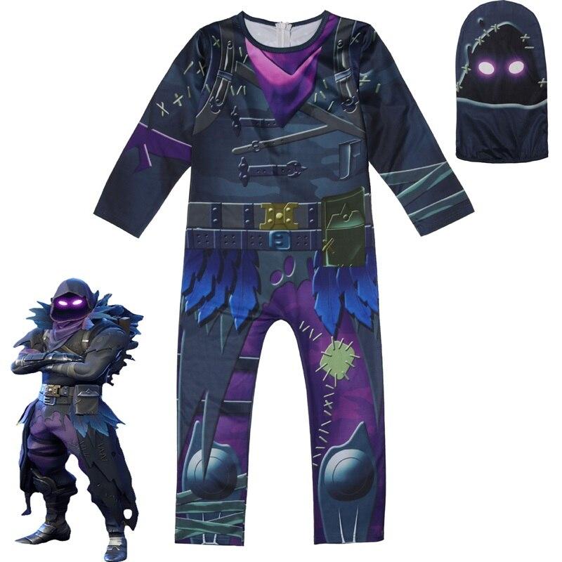 Kids Children Game Cosplay Costume Raven Zentai Bodysuit Suit Jumpsuits Mask Halloween