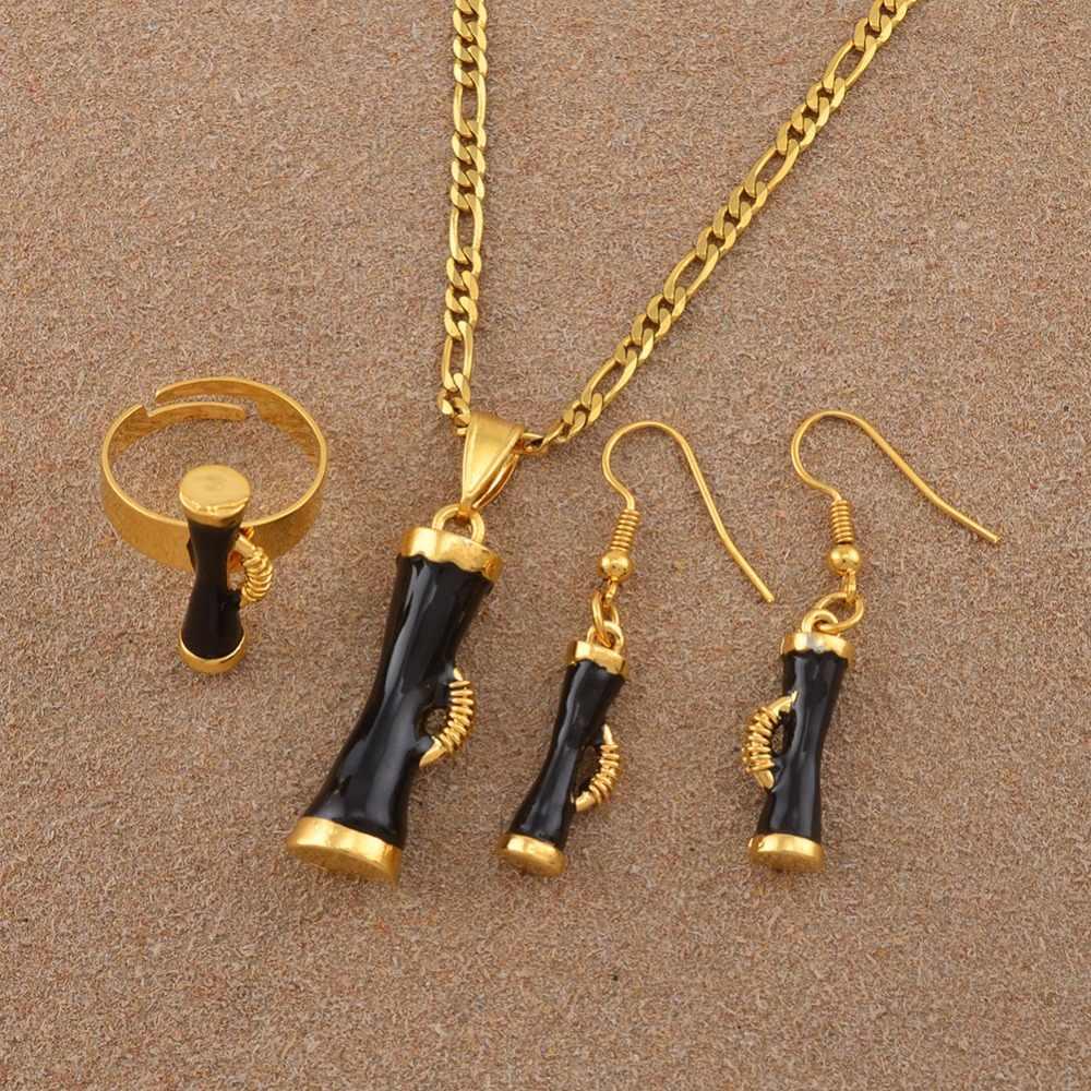 Anniyo Hitam Enamel Drum Papua New Guinea Etnis Kalung Cincin dan Anting-Anting Set untuk Wanita PNG Kundu Perhiasan Pesta Hadiah #139806