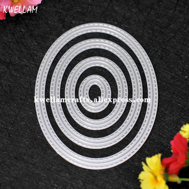 Outside In Stitched Oval Stackables Metal Die cutting Dies For DIY Scrapbooking Photo Album Decorative Embossing 7063051