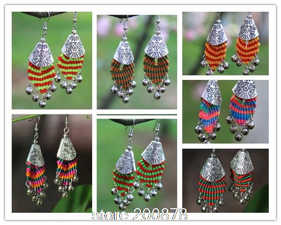 Beautiful E119 Miao Ethnic Hand Wrapped Colorful Rainbow Thread Bells Earrings,ethnic Boho Fashion,10pcs Lot,mix Order Free China Post Jewelry & Accessories Earrings