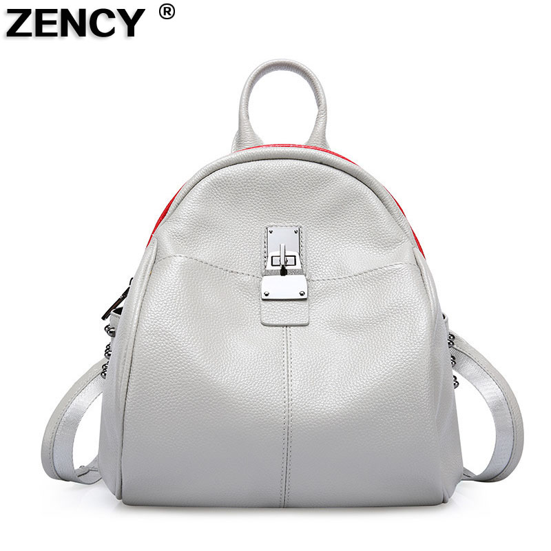 ZENCY Woman 100% Leather Fashion Backpack Genuine Leather Women's Casual Backpacks Ladies Girl's School Bag Real Cowhide Mochila zency genuine leather backpacks female girls women backpack top layer cowhide school bag gray black pink purple black color