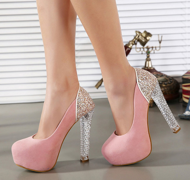 edcbc049c92 2014 peach Glitter Slip On Thin Heels modern women shoes high heels  platform shoes pumps women s pumps Bottom free shipping-in Women s Pumps  from Shoes on ...