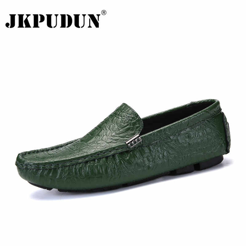 JKPUDUN Men's Casual Shoes Luxury Brand 2018 Crocodile Leather Italian Loafers Men Moccasins Slip on Boat Shoes Plus Size 38-47