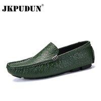 JKPUDUN männer Casual Schuhe Luxus Marke 2018 Krokodil Leder Italienischen Slipper Männer Mokassins Slip auf Boot Schuhe Plus Größe 38 47-in Freizeitschuhe für Herren aus Schuhe bei