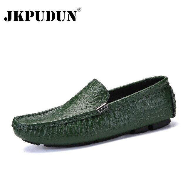 e2fe93a0ff4cf JKPUDUN zapatos casuales de los hombres zapatos de lujo de marca 2018 de  cuero de cocodrilo