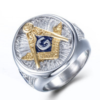 Vintage 316L Stainless Steel Men Ring Gold Free Mason Freemasonry Masonic Male Retro Punk Silver Color