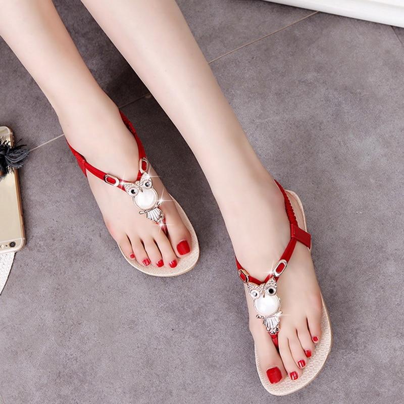 Adisputent Rhinestone Shoes Flats Bohemian Sandal Flip-Flops Thong