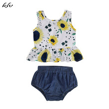 Newborn Baby Girls Clothes Floral Sleeveless T-shirt Tops Shorts Pants Costume Cotton Clothing Outfits