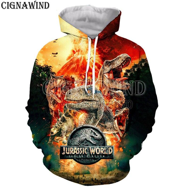 2019 New Funny Jurassic Park Sweatshirt Men Women Pullover Fleece Hoodie Vintage Style Lepin Jurassic World2 The Dinosaur Jacket Men's Clothing