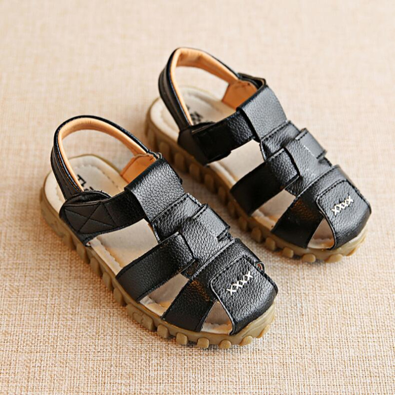 Sandals child 2018 summer new childrens leather sandals boys cow tendons soft bottom beach sandals girls braided baby shoes