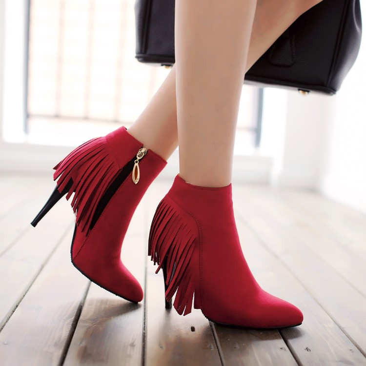Large Size 34-47 Women Ankle Boots Heels 2017 Autumn Winter Botas Red High Heel Shoes Platform Fringed Woman Boots Female 907
