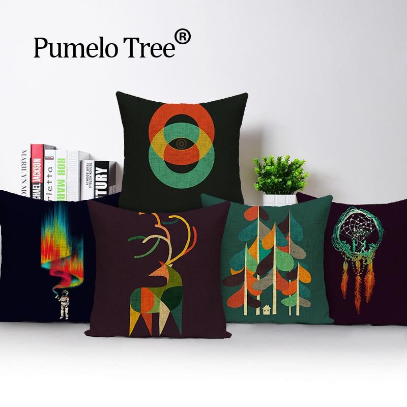 Kvadrātveida dekoratīvs mājas tekstila krāsains koks Spilvenu pārvalks almohada mīksts sēdeklis auto lina uzvalks spilvenu spilvendrāna 45x45 BO-4