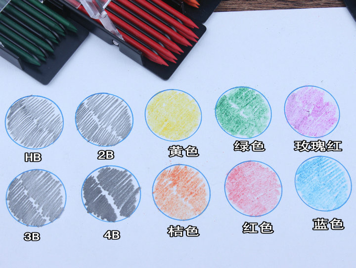 2mm núcleo mecânico lápis cor chumbo mecânico lápis automático chumbo