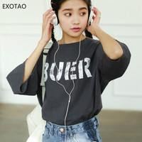 EXOTAO Korean Style Ladies Tops Half Sleeve Letter Printed Loose Summer 2018 T Shirt Women Harajuku Casual Grey Woman Clothes
