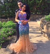 Sparkly 2016 Abendkleid Meerjungfrau Reizvolle Wulstige Rhinestones Arabischen Muslimischen Formale Kleider Für Hochzeit Promi Guest Kleid