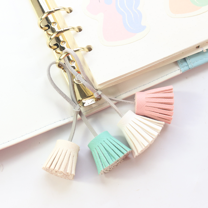 Domikee Macaron Cute Kawaii Leather Tassel Ornaments For Diary Notebooks Candy Office School Planner Decorative Accessories Gift
