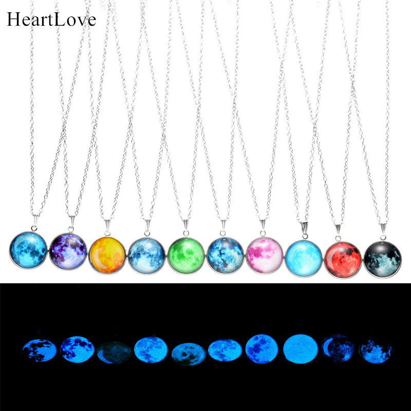 Glow In The Dark Moon Necklace 14mm Galaxy Planet Glass Cabochon Pendant Necklace Silver Chain Luminous Jewelry Women Gifts - Click Image to Close