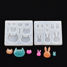 SNASAN 2pieces Resin Silicone Mold pendant epoxy Mould handmade DIY Jewelry Making cat ear rabbit charms