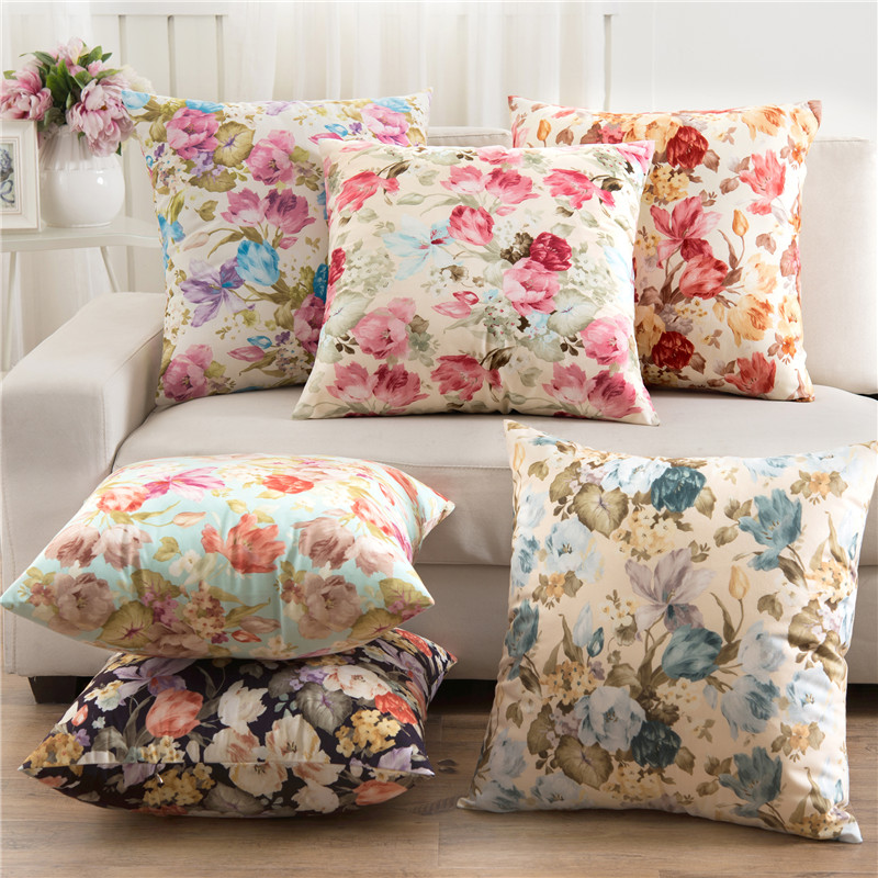 Short Plush Sofa Cushion Cover Perfect Quality Home Decoration Pastoral Flower Housewarming Gift Throw Pillow Cover Car Seat